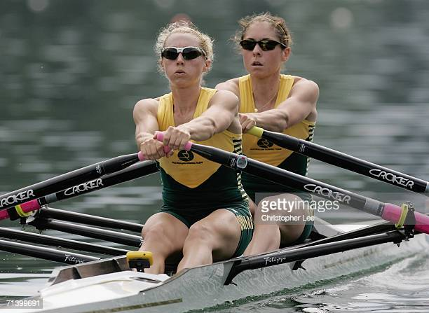 Amber Halliday and Marguerite Houston of Australia compete in the Lightweight Women's Double Sculls Semi Final during the Rowing World Cup III Day 2...