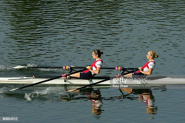 Amber Halliday and Marguerite Houston race in a double scull during day three of the Rowing Australia final selection trials held at Sydney...