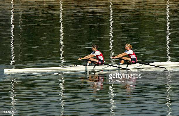 Amber Halliday and Marguerite Houston row back to the boat house after racing in a double scull during day three of the Rowing Australia final...
