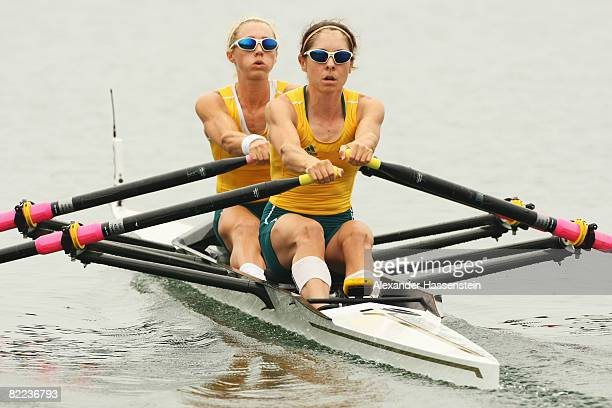 Amber Halliday and Marquerite Houston of Australia compete in the Lightweight Women's Double Sculls Heat 1 at the Shunyi Olympic RowingCanoeing Park...