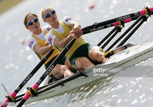 Amber Halliday stroke and Marquerite Houston bow of Australia compete in Lightweight Women's Double Sculls semifinal during the FISA World Rowing...