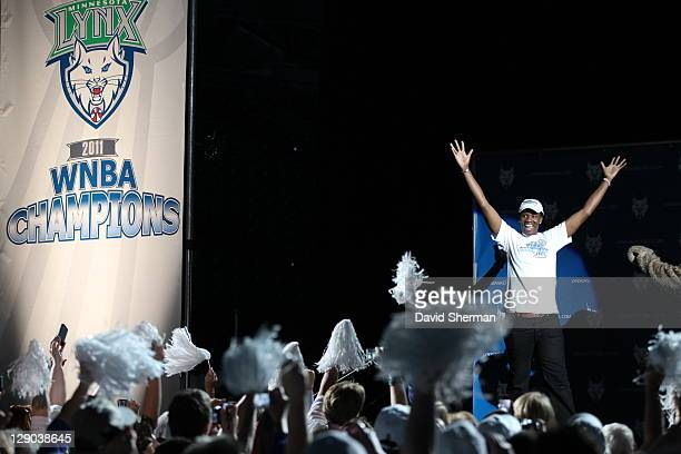 Amber Harris of the 2011 WNBA Champions Minnesota Lynx is introduced during a Championship Rally at Target Center on October 11 2011 in Minneapolis...