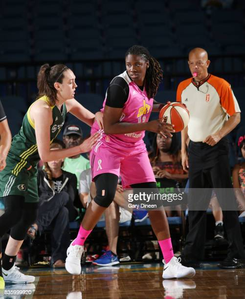 Amber Harris of the Chicago Sky handles the ball against Breanna Stewart of the Seattle Storm on August 20 2017 at Allstate Arena in Rosemont IL NOTE...