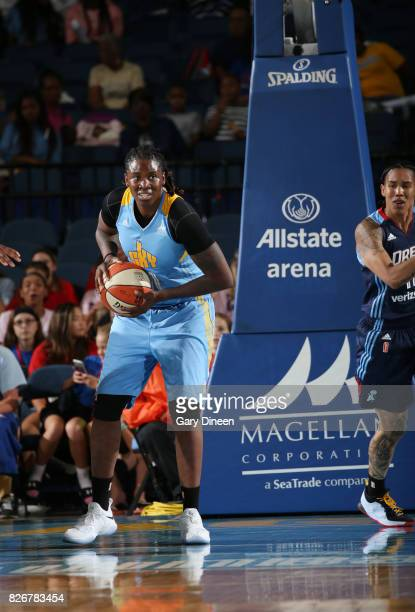 Amber Harris of the Chicago Sky handles the ball against the Atlanta Dream on August 5 2017 at Allstate Arena in Rosemont IL NOTE TO USER User...