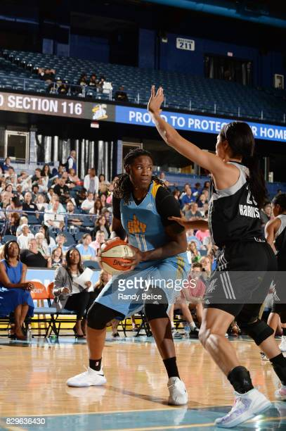 Amber Harris of the Chicago Sky handles the ball against the San Antonio Stars on August 10 2017 at the Allstate Arena in Rosemont Illinois NOTE TO...