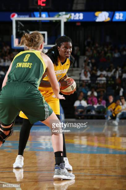 Amber Harris of the Chicago Sky handles the ball against the Seattle Storm on September 3 2017 at Allstate Arena in Rosemont IL NOTE TO USER User...