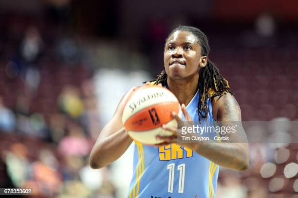 Amber Harris of the Chicago Sky in action during the Connecticut Sun Vs Chicago Sky WNBA pre season game at Mohegan Sun Arena on May 2 2017 in...