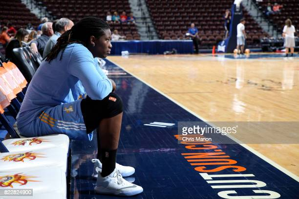 Amber Harris of the Chicago Sky looks on before the game against the Connecticut Sun on July 25 2017 at the Mohegan Sun Arena in Uncasville...