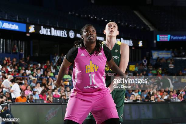 Amber Harris of the Chicago Sky plays defense against Breanna Stewart of the Seattle Storm on August 20 2017 at Allstate Arena in Rosemont IL NOTE TO...