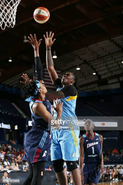 Amber Harris of the Chicago Sky shoots the ball against the Atlanta Dream on August 5 2017 at Allstate Arena in Rosemont IL NOTE TO USER User...