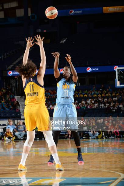 Amber Harris of the Chicago Sky shoots the ball against the Indiana Fever on June 28 2017 at the Allstate Arena in Rosemont Illinois NOTE TO USER...