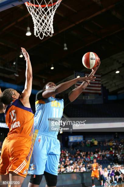 Amber Harris of the Chicago Sky shoots the ball against the Phoenix Mercury on July 28 2017 at Allstate Arena in Rosemont IL NOTE TO USER User...