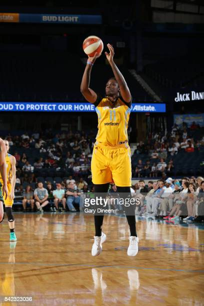Amber Harris of the Chicago Sky shoots the ball against the Seattle Storm on September 3 2017 at Allstate Arena in Rosemont IL NOTE TO USER User...