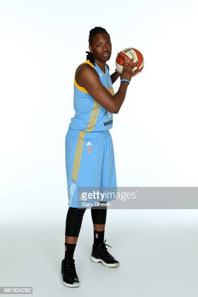 Amber Harris of the Chicago Sky team poses for portraits during 2017 WNBA Media Day on May 10 2017 at Sachs Recreation Center in Deerfield Illinois...