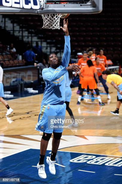 Amber Harris of the Chicago Sky warms up before the game against the Connecticut Sun during a WNBA game on August 25 2017 at the Mohegan Sun Arena in...