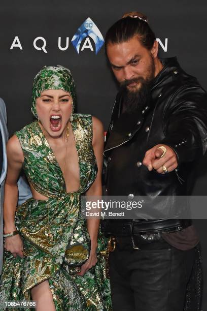 Amber Heard and Jason Momoa attend the World Premiere of 'Aquaman' at Cineworld Leicester Square on November 26 2018 in London England
