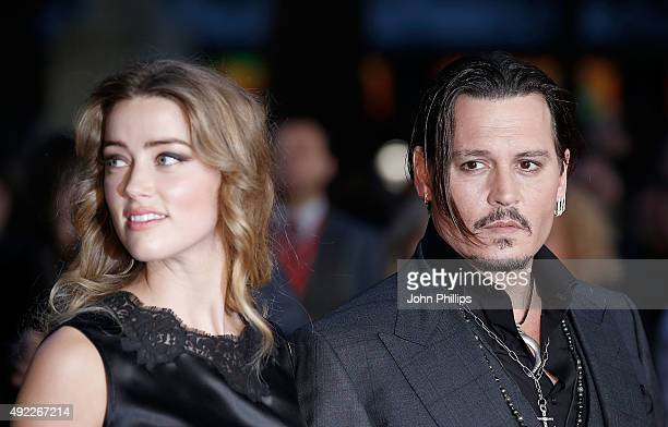 "Amber Heard and Johnny Depp attend the ""Black Mass"" Virgin Atlantic Gala screening during the BFI London Film Festival, at Odeon Leicester Square on..."
