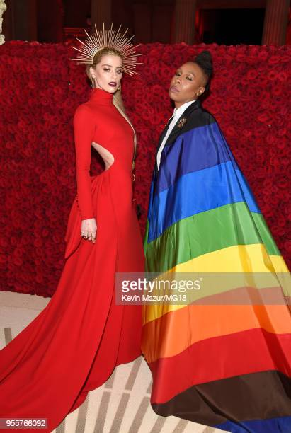 Amber Heard and Lena Waithe attend the Heavenly Bodies Fashion The Catholic Imagination Costume Institute Gala at The Metropolitan Museum of Art on...
