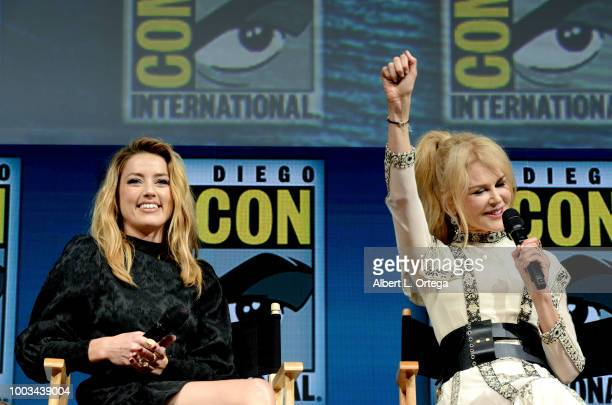 Amber Heard and Nicole Kidman speak onstage at the Warner Bros 'Aquaman' theatrical panel during ComicCon International 2018 at San Diego Convention...