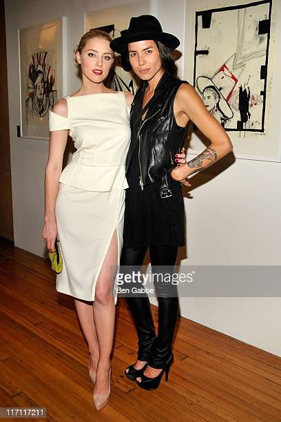 Amber Heard and Tasya Van Ree attend Tasya Van Ree's private viewing of Distorted Delicacies at Vs Magazine Creative Studios Paris' Space on June 22...