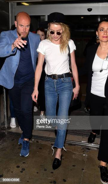 Amber Heard arrives at Nice Airport during the 71st annual Cannes Film Festival at on May 9 2018 in Nice France