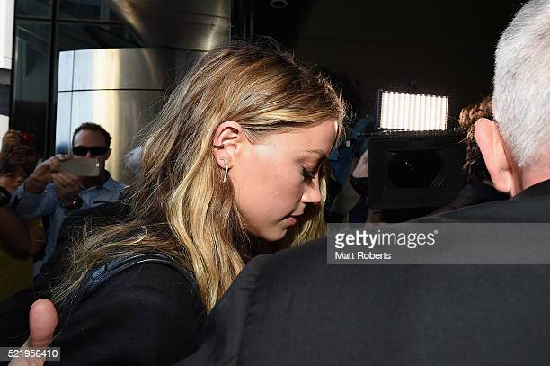 Amber Heard arrives at Southport Magistrates Court on April 18 2016 in Gold Coast Australia Heard is facing two counts of breaching Australia's...
