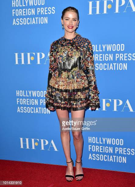 Amber Heard arrives at the Hollywood Foreign Press Association's Grants Banquet at The Beverly Hilton Hotel on August 9 2018 in Beverly Hills...