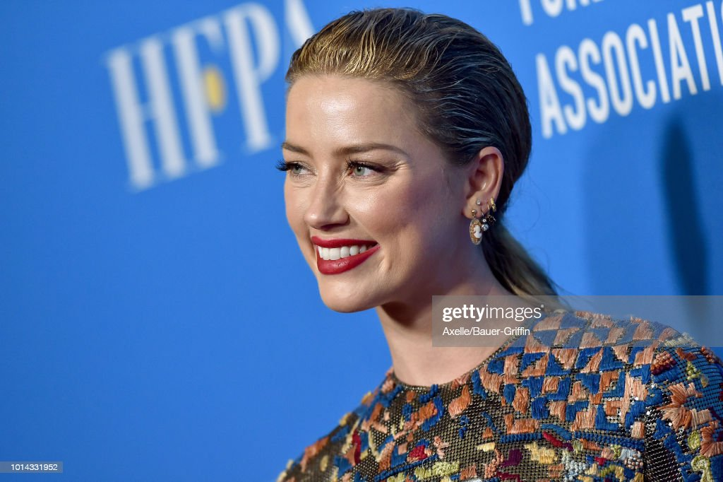 Amber Heard arrives at the Hollywood Foreign Press Association's Grants Banquet at The Beverly Hilton Hotel on August 9, 2018 in Beverly Hills, California.