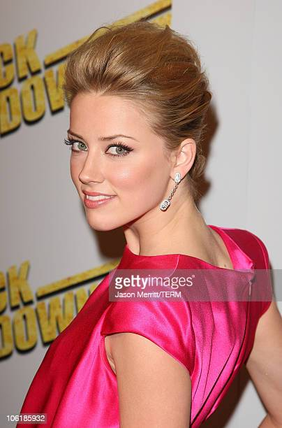 Amber Heard arrives at the premiere of Summit Entertainment's 'Never Back Down' at the Cinerama Dome on March 4 2008 in Hollywood California