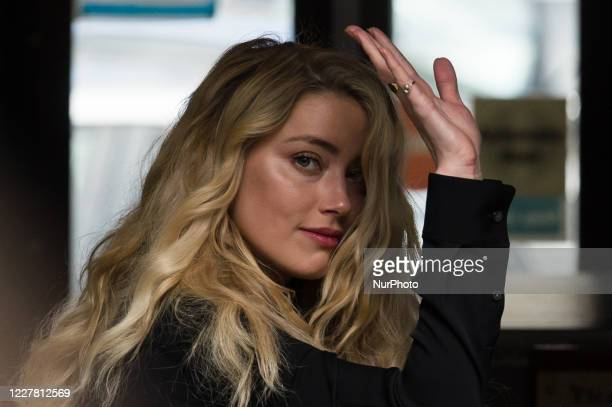 Amber Heard arrives at the Royal Courts of Justice on the final day of the hearing on the libel case against The Sun newspaper on 28 July, 2020 in...