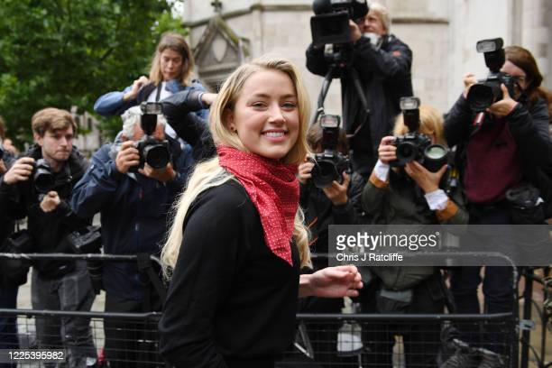 Amber Heard arrives at The Royal Courts of Justice, Strand on July 8, 2020 in London, England. Hollywood actor Johnny Depp is taking News Group...