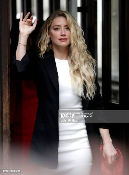 Amber Heard arrives at the Royal Courts of Justice, the Strand on July 27, 2020 in London, England. The Hollywood actor Johnny Depp is suing News...