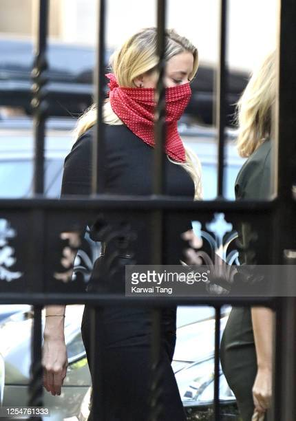 Amber Heard arrives for Johnny Depp's libel case against the Sun Newspaper at the Royal Courts of Justice, Strand on July 07, 2020 in London,...