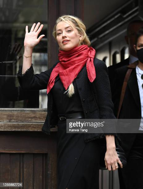 Amber Heard attends day 5 of Johnny Depp's libel case against The Sun Newspaper at the Royal Courts of Justice Strand on July 13 2020 in London...