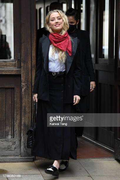 Amber Heard attends day 6 of Johnny Depp's libel case against The Sun Newspaper at the Royal Courts of Justice, Strand on July 14, 2020 in London,...