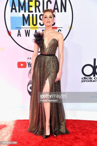 Amber Heard attends the 2018 American Music Awards at Microsoft Theater on October 9 2018 in Los Angeles California