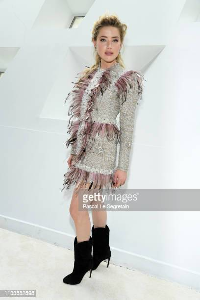 Amber Heard attends the Giambattista Valli show as part of the Paris Fashion Week Womenswear Fall/Winter 2019/2020 on March 04 2019 in Paris France