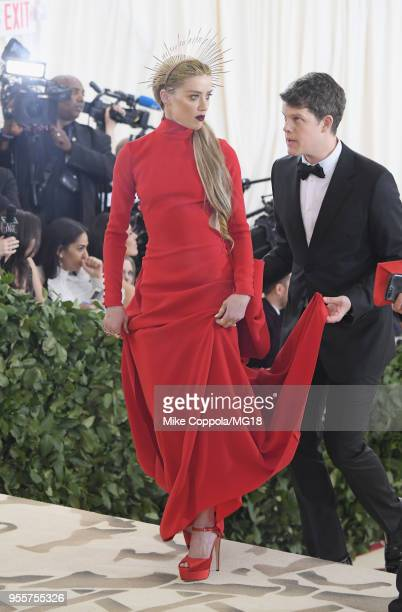 Amber Heard attends the Heavenly Bodies: Fashion & The Catholic Imagination Costume Institute Gala at The Metropolitan Museum of Art on May 7, 2018...