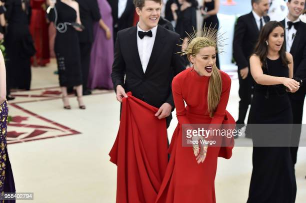 Amber Heard attends the Heavenly Bodies Fashion The Catholic Imagination Costume Institute Gala at The Metropolitan Museum of Art on May 7 2018 in...