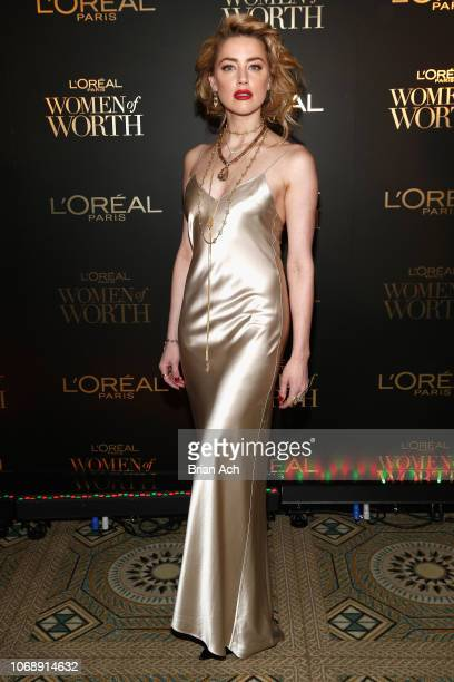 Amber Heard attends the L'Oréal Paris Women of Worth Celebration at The Pierre Hotel on December 5, 2018 in New York City.