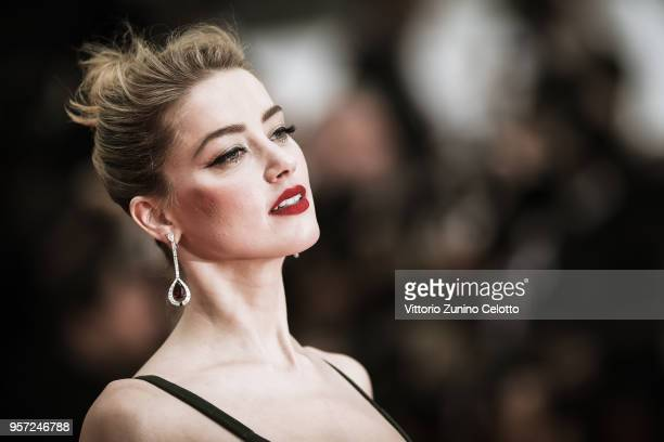 Amber Heard attends the screening of 'Sorry Angel ' during the 71st annual Cannes Film Festival at Palais des Festivals on May 10 2018 in Cannes...