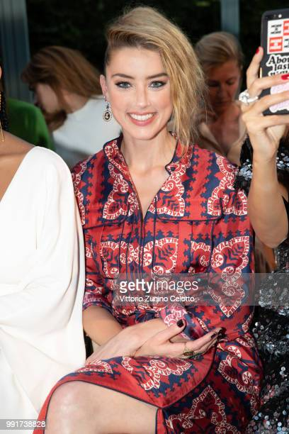 Amber Heard attends the Valentino Haute Couture Fall Winter 2018/2019 show as part of Paris Fashion Week on July 4 2018 in Paris France