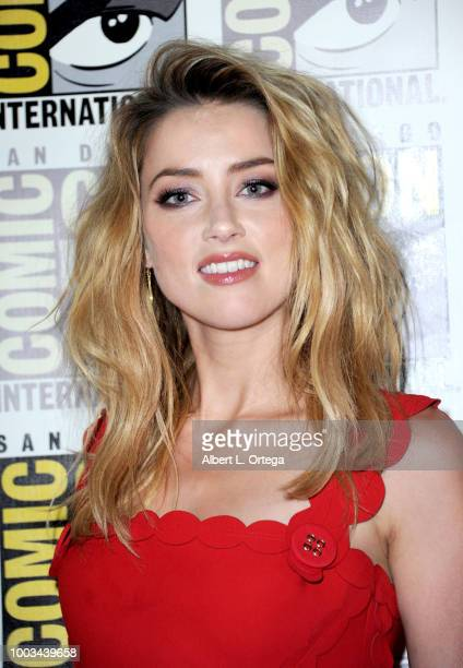 Amber Heard attends the Warner Bros 'Aquaman' theatrical panel during ComicCon International 2018 at San Diego Convention Center on July 21 2018 in...