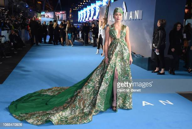 Amber Heard attends the World Premiere of Aquaman at Cineworld Leicester Square on November 26 2018 in London England