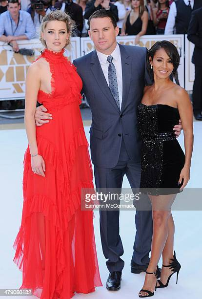 Amber Heard Channing Tatum and Jada Pinkett Smith attend the European Premiere of 'Magic Mike XXL' at Vue West End on June 30 2015 in London England
