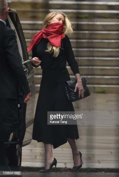 Amber Heard departs after attending the second day of Johnny Depp's libel case against The Sun Newspaper at the Royal Courts of Justice, Strand on...