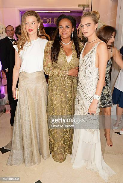 Amber Heard Isabel dos Santos and Cara Delevingne attend the de Grisogono 'Fatale In Cannes' party during the 67th Cannes Film Festival at Hotel du...