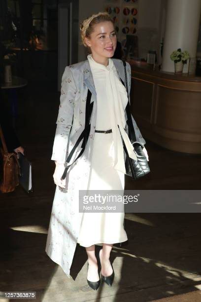 Amber Heard leaving her hotel ahead an appearance at Royal Courts of Justice, Strand on July 21, 2020 in London, England. American actor Johnny Depp...