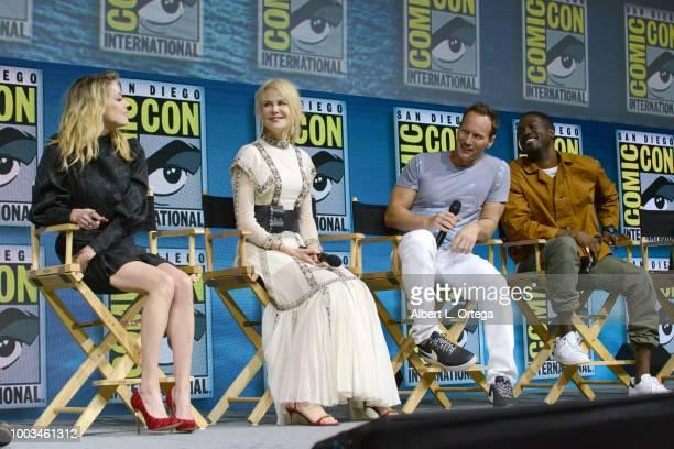Amber Heard Nicole Kidman Patrick Wilson and Yahya AbdulMateen II speak onstage at the Warner Bros 'Aquaman' theatrical panel during ComicCon...
