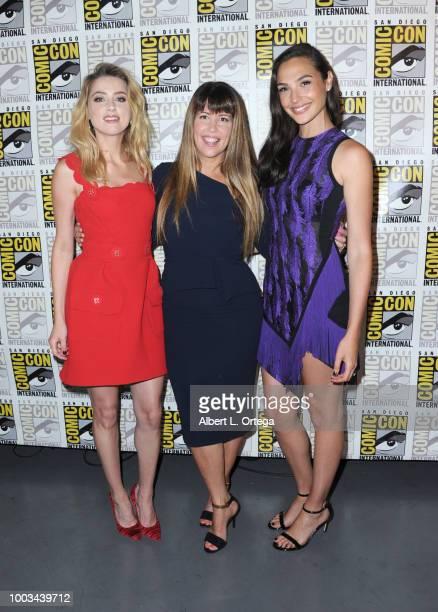 Amber Heard Patty Jenkins and Gal Gadot attend the Warner Bros 'Aquaman'/'Wonder Woman 1984' theatrical panels during ComicCon International 2018 at...